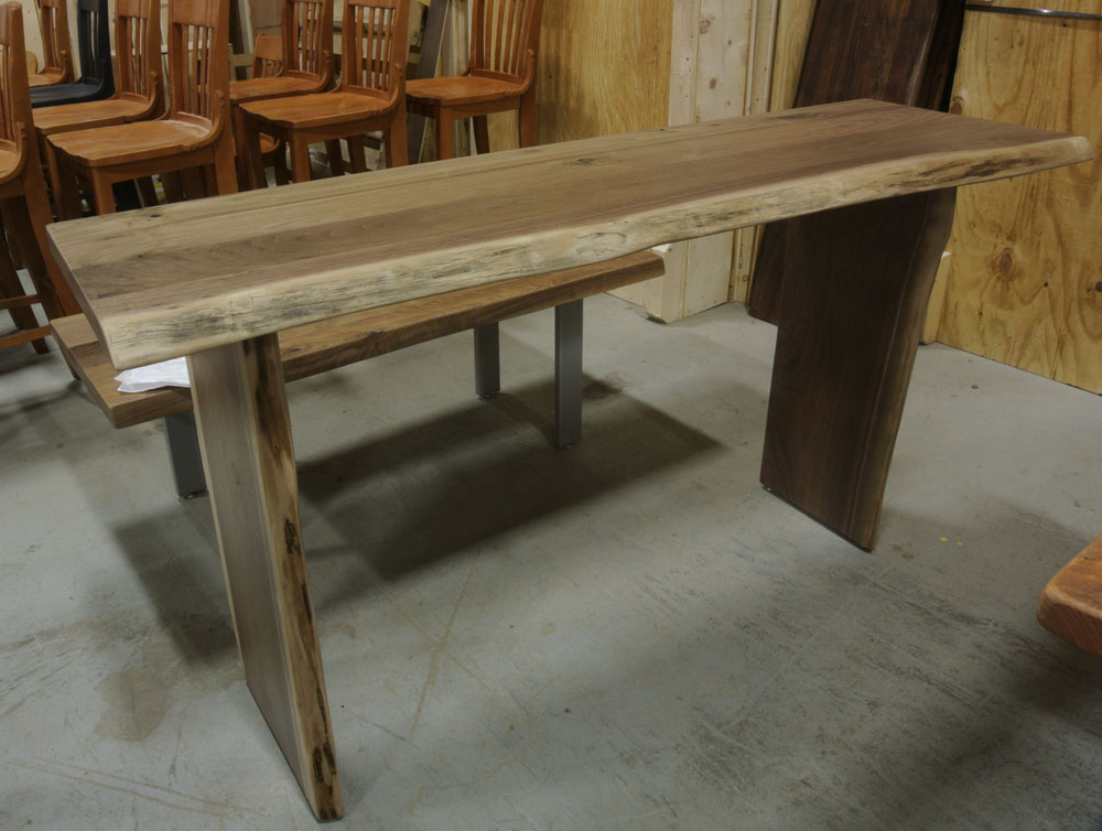 Walnut Live Edge Console with Slab Legs.