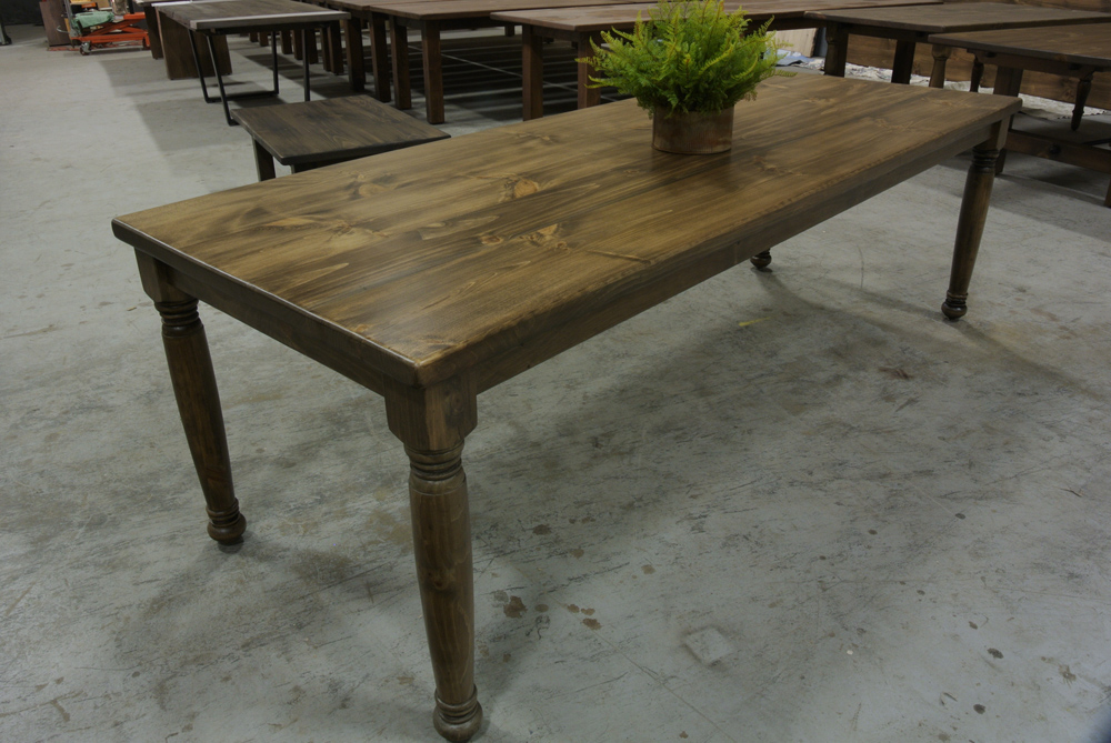 Pine Table with Light Walnut Stain and Turned Legs.