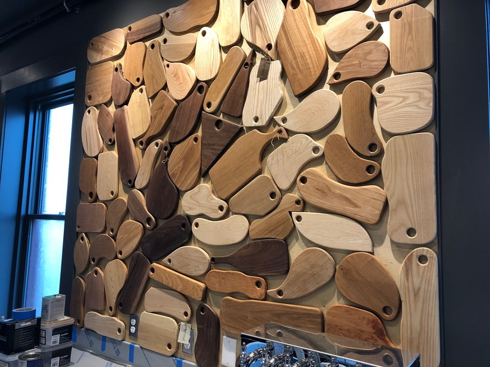 A most unique wall display for the Bar and Board Restaurant in Newport Rhode Island.  These board are made with the collaboration of Edge and End and their clients with Autism