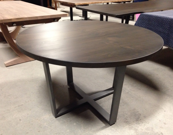 Round Ash Table on steel inverted legs