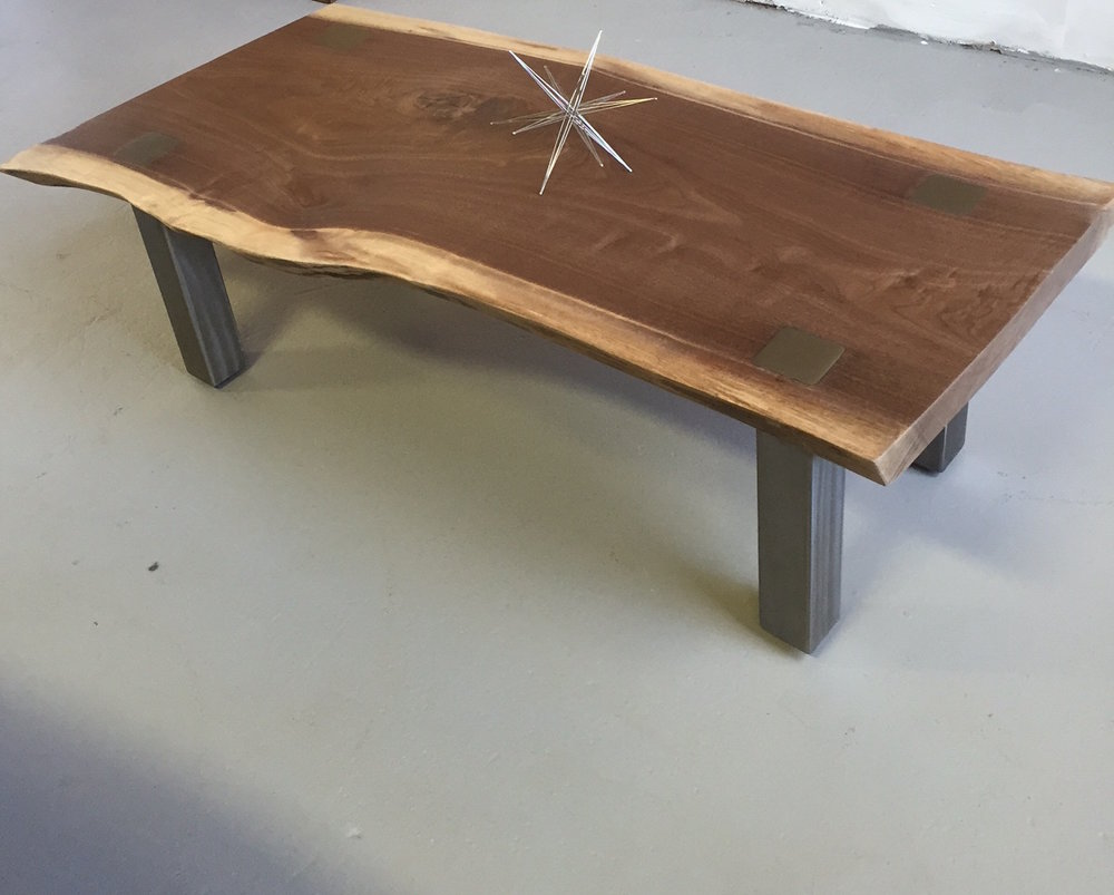 Live edge Black Walnut with steel legs