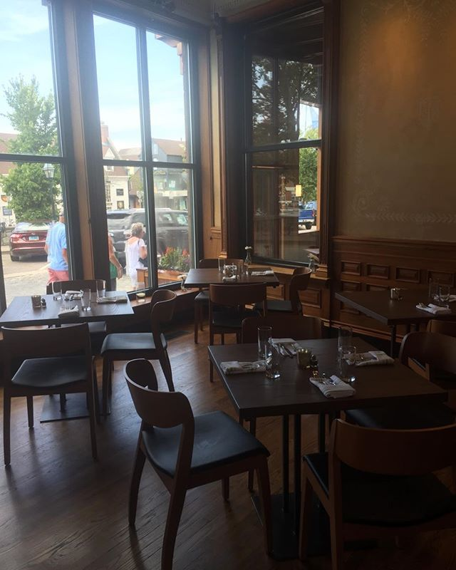 A quiet moment before opening at Bar and Board restaurant in Newport RI.  All the tables by the Lorimer Studios