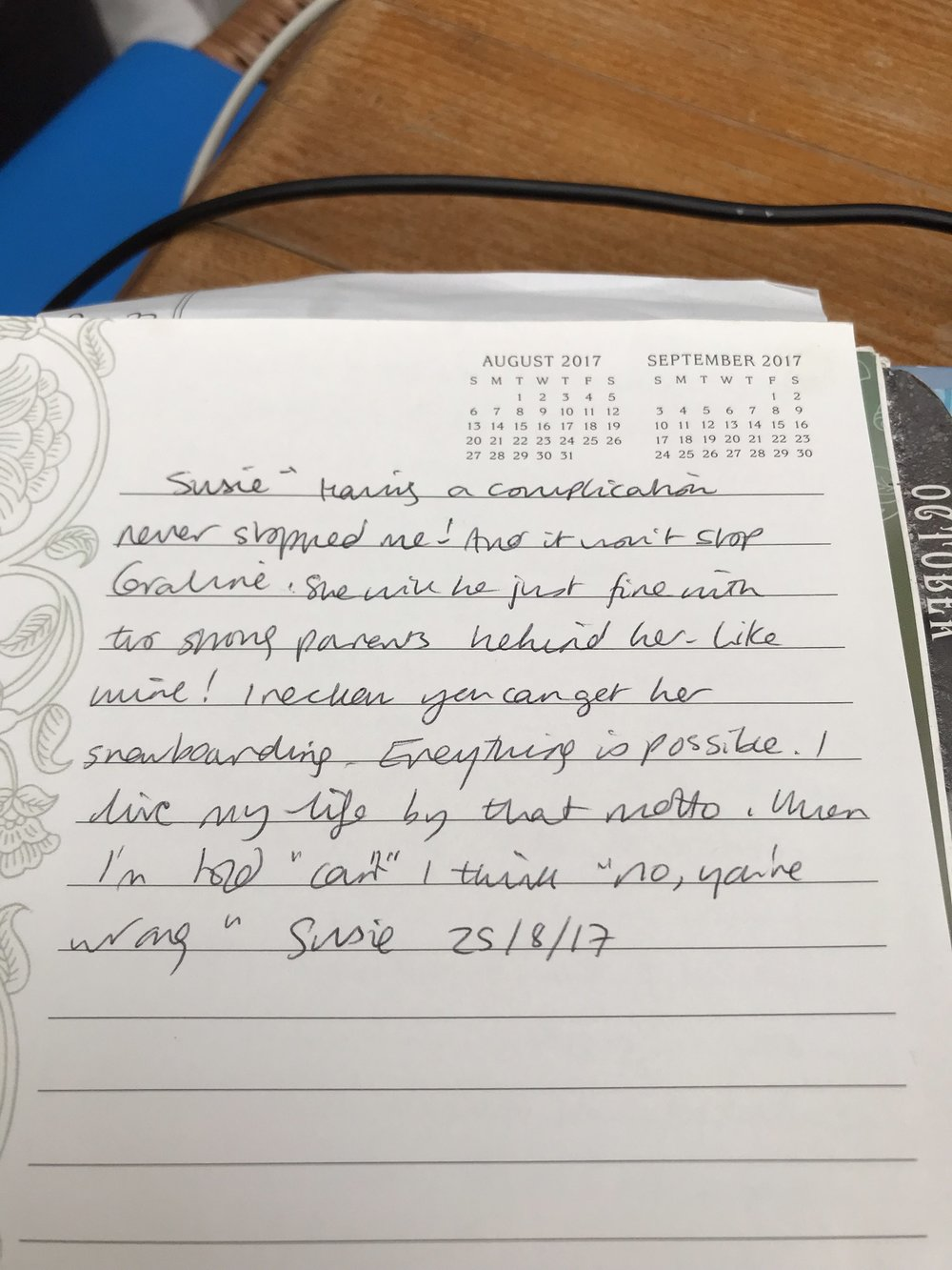 Notes in my diary of Susie's words when Coraline was two and a half weeks old