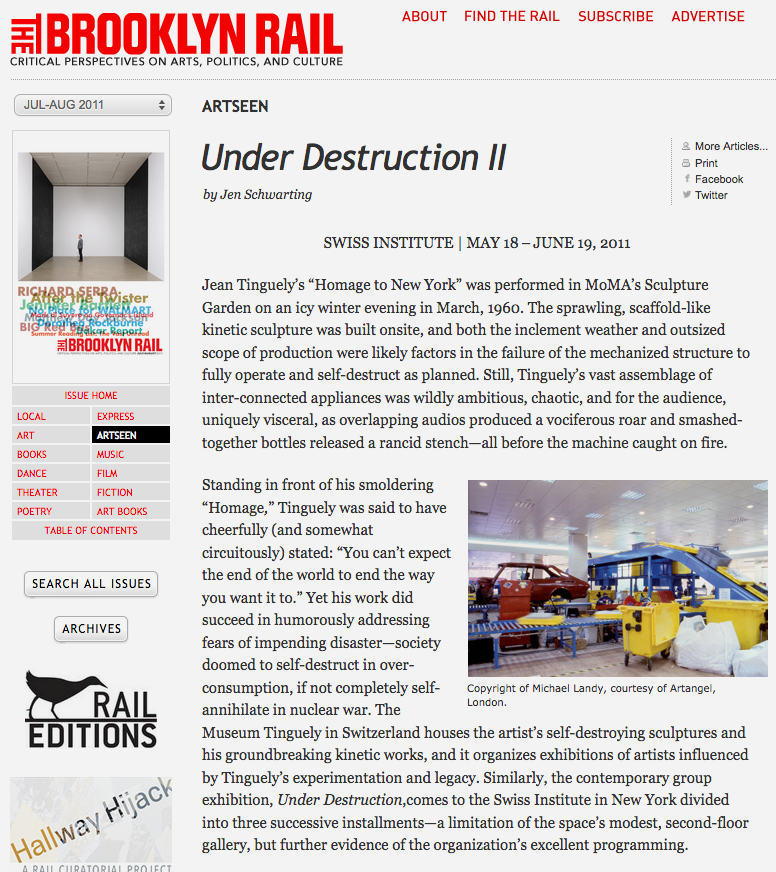 Review of Under Destruction II at the Swiss Institute