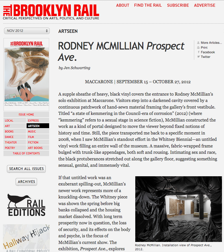 Review of Prospect Ave. at Maccarone for The Brooklyn Rail