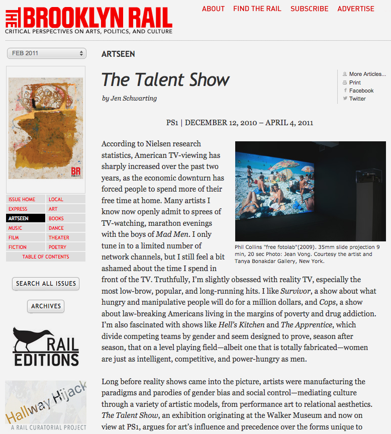 Review of The Talent Show at MoMA PS1 for The Brooklyn Rail