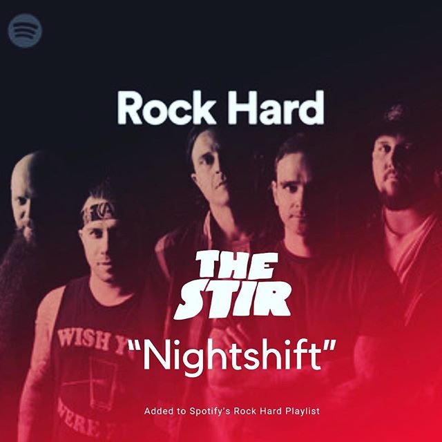 "We are so pumped that our single ""Nightshift"" has been added to @spotify Rock Hard Playlist alongside some of today's best rock artists! We are honored and humbled!  THAT IS NOT US IN THE PICTURE! IT'S THE COVER FOR THE PLAYLIST... just FYI lol. #thestir #nightshift #spotifyplaylist #hardrock #collectivesoul #fozzy #stonebroken #adelitasway #rock"
