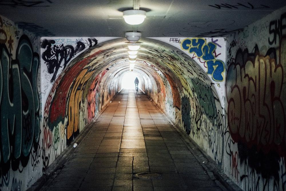 Al Agami walking in a Christiana tunnel