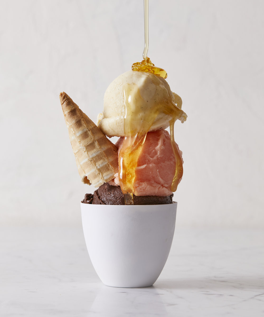 Sugar Hill Creamery - Chocolate Sorbet, Soursop Ice Cream (vegan), Vanilla Ice Cream / Photo: Evi Abeler