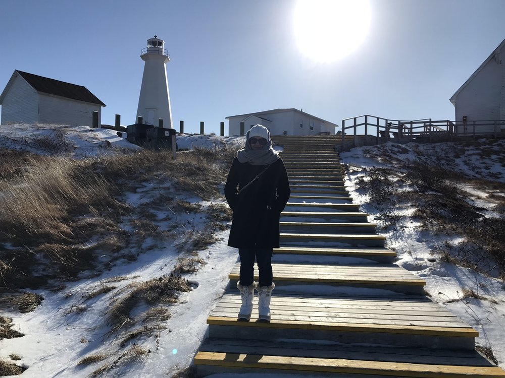 Leah in Newfoundland in the middle of January. Traveling in the winter means being prepared with the right foot wear…and hat…and scarf…and attitude. For more fun photos check out #leahiscold on instagram.