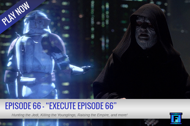 Summary - This week we will hunt the Jedi.  We will purge them from the galaxy.  We will kill the younglings.  We will raise the empire.  EXECUTE EPISODE 66.But in reality, we have news, Netflixation, and the usual Fluxtaposed insanity, listen on!