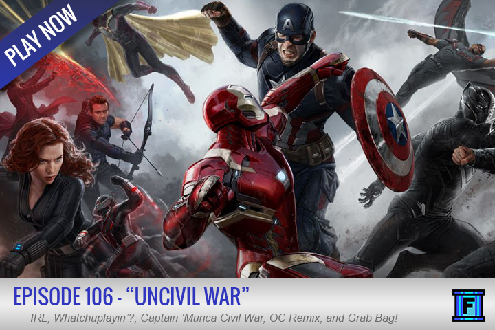 Summary - Get your weekly recommended serving of Fluxtaposed with Episode 106, Uncivil War! This week, Jason's door dun broke and many other unexpected perils of married life.  There was a big new trailer for the next Marvel film, Civil War, join us as we talk about it.  We even have a giveaway this episode!Send us an e-mail that answers the question we asked during this episode and you will be entered to win your pick from a couple different games from a recent Humble Bundle.  Your choices include:Oceanhorn: Monster of Uncharted SeasShadownrun Chronicles: Boston LockdownShadowrun: DragonfallMagicka 2Shadowrun ReturnsJust e-mail your answer and we will randomly select a winners in a couple of weeks!  Good luck to all and thanks for listening!