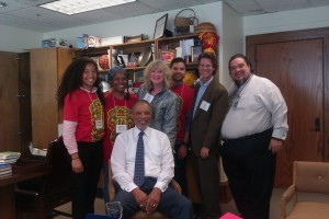 Jay & Deb led an arts advocacy workshop for World Arts Day at City Hall. Pictured with Councilman Parks.