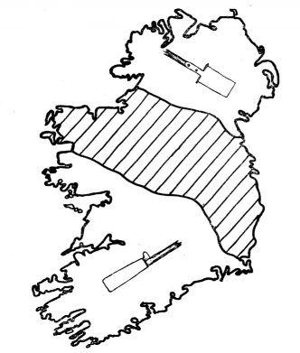 Spade distribution in Ireland, O'Dannachair 1963, p.103, Figure 1