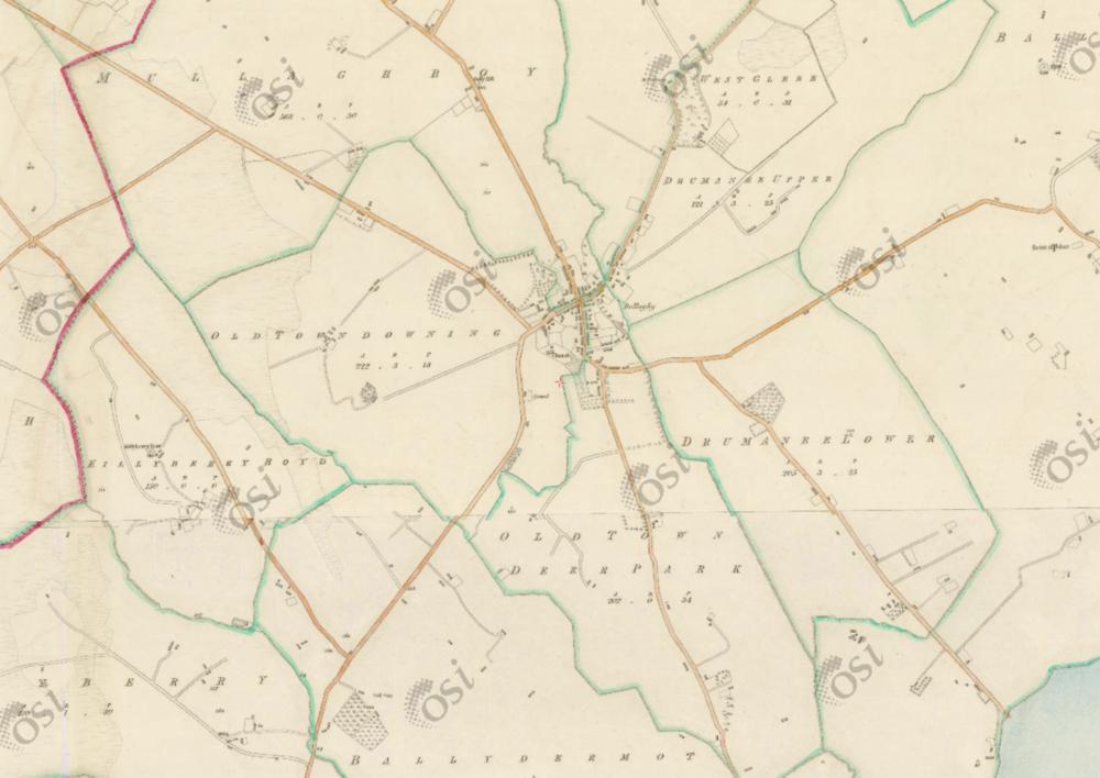 "Bellaghy, 1:5  000, Historic 6"" Map 1842  .  © Ordnance Survey Ireland, 2017"
