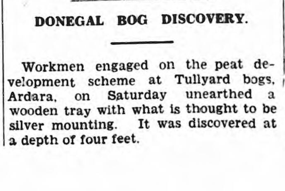 Discovery notice for 1938.9724, reported in the Derry Journal, October 31st, 1938.