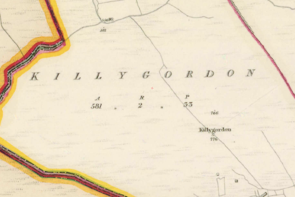"K  illygordon, Co.  Tyrone , 1:5000, Historic 6"" Map 1842  .  © Ordnance Survey Ireland, 2017"