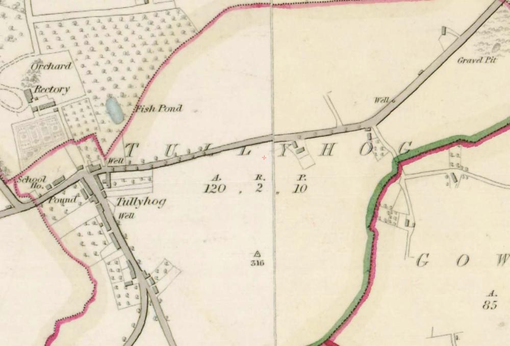 "Tullaghoge townland  , Co. Tyrone, 1:5000, Historic 6"" Map 1842  .  © Ordnance Survey Ireland, 2017"