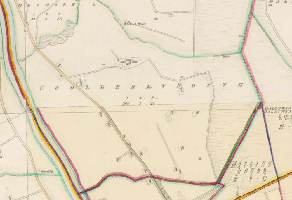 """Coolderry South, Co.Derry, 1:5000, Historic 6"""" Map 1842 . © Ordnance Survey Ireland, 2017"""