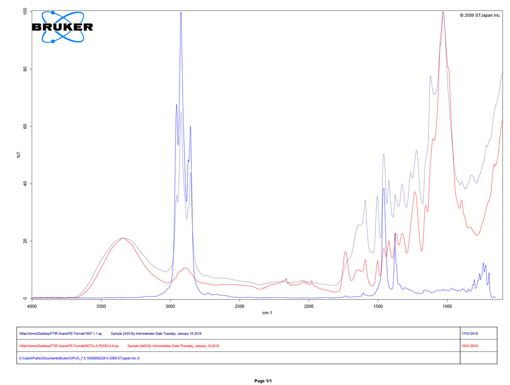 FTIR spectral analysis showing comparison of sample collected from losset 1938.9734 (dark blue), reference sample for Birch ( Betula pendula ) (red), and reference sample for kerosene (blue)