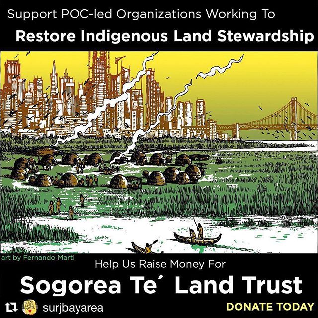 #Repost @surjbayarea ・・・ SUPPORT INDIGENOUS SOVEREIGNTY AND ENVIRONMENTAL JUSTICE. Help us raise money for Sogorea Te' Land Trust and organize white people to deepen their relationship with the land and indigenous community.  DONATE TODAY: https://www.surjbayarea.org/12days.html?source=insta  The Ohlone people have called the SF Bay Area home for THOUSANDS OF YEARS. The Sogorea Te' Land Trust, led by Indigenous women, facilitates the return of Ohlone lands to Indigenous stewardship.  #12DaysToShowUp #RacialJustice #Reparations  Read more about Sogorea Te and SURJ' work here: https://www.surjbayarea.org/blog/12daystoshowup-day-3-confronting-our-legacies-of-colonialism-and-genocide