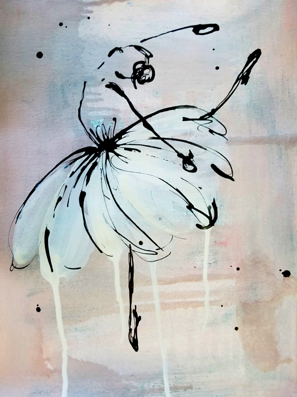 Birthday Dance I (Available) - Acrylic and ink on 140lb watercolor paperPrice for original: $60