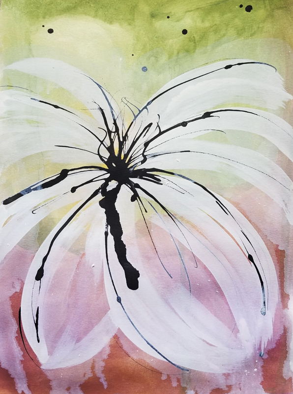 """Mellon Burst II (Available) - Acrylic and ink on 140lb watercolor paper 11"""" X 15""""Price for Original: $60"""