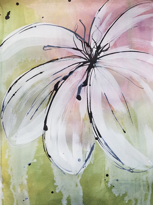 """Mellon Burst I (Available) - Acrylic and ink on 140lb watercolor paper 11"""" X 15""""Price for Original: $60"""