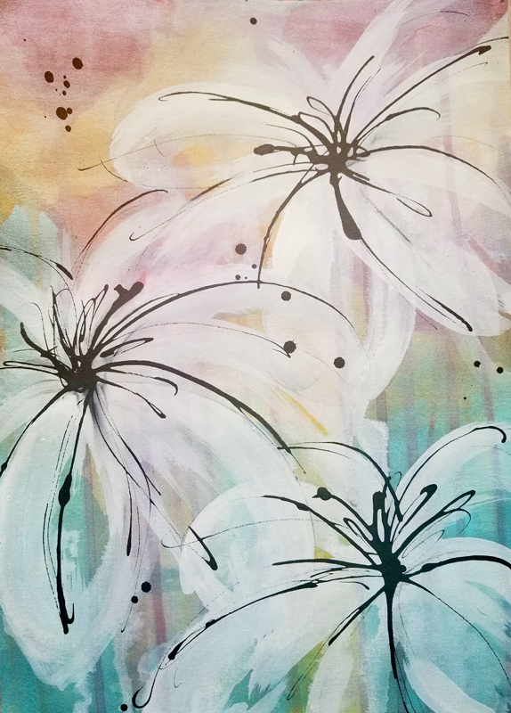 """Caribbean Blooming I (Available) - Acrylic and ink on 140lb watercolor paper 11"""" X 15""""Price for Original: 60"""