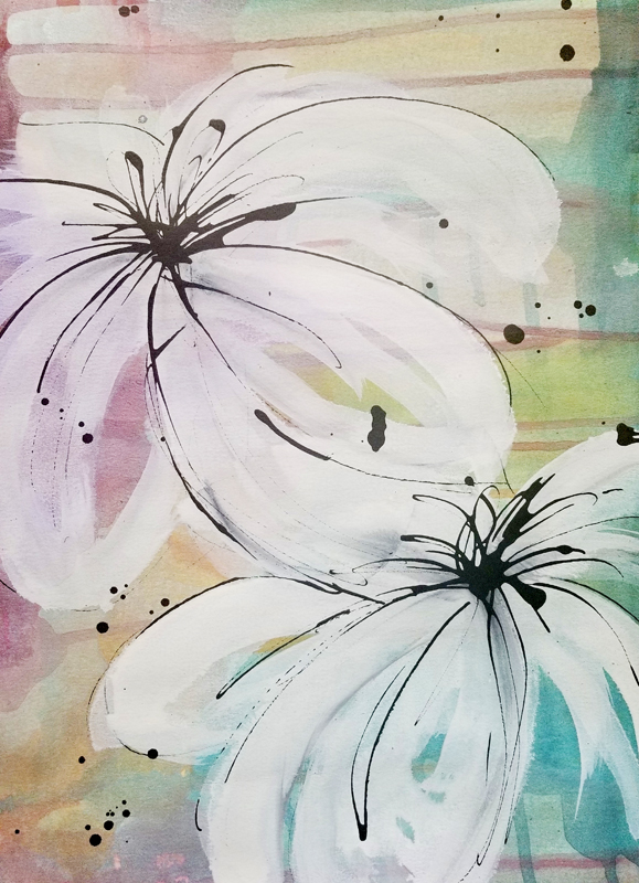 """Caribbean Blooming II (Available) - Acrylic and ink on 140lb watercolor paper 11"""" X 15""""Price for Original: $60"""