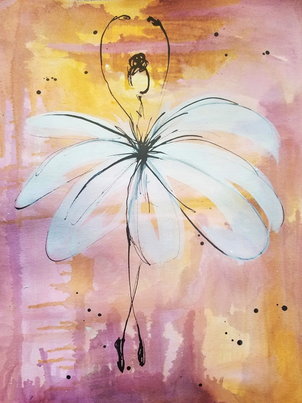 Enchanted Ballet II (Available) - Acrylic and ink on 140lb watercolor paperPrice for original: $60