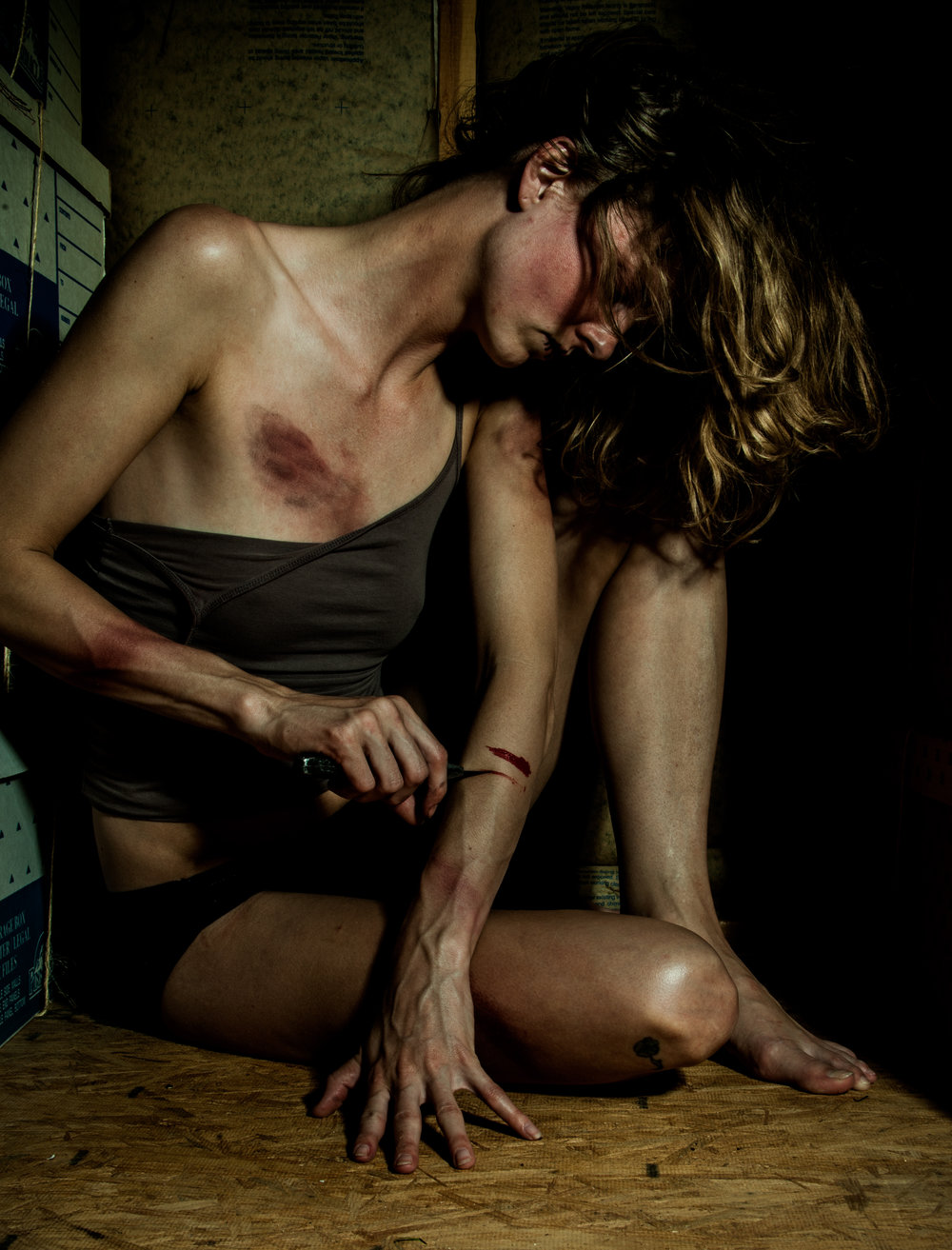I stopped cutting myself - at 24 years old, summer of 2014. I decided leaving marks on my body was not attractive. Bleeding wounds to cover the mental anguish would not be much of an answer. I didn't want to appear crazy to anyone who saw them, either. I already have many scars from cutting myself, why do I want more? I had pierced my ears a dozen times, sliced my leg, my arm, finger, ankle, pelvis, etc... I used all of that to push out the mental/emotional pain I suffered from this and that. My scars have memories attached to them and I am now covering them with beautiful tattoos.