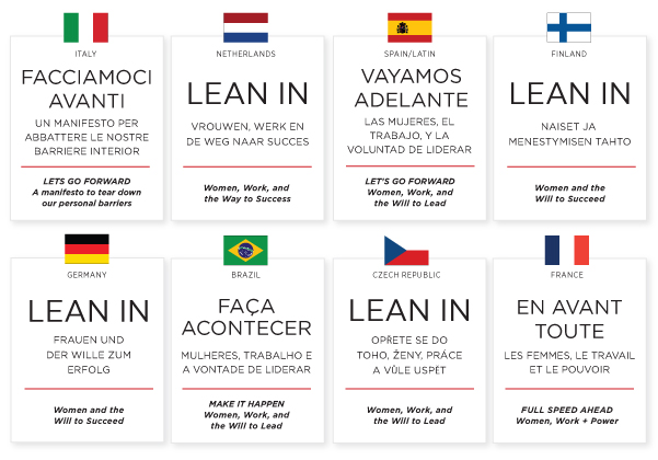 Lean In book titles in various languages (http://leanin.org/discussions/lean-in-goes-global/)