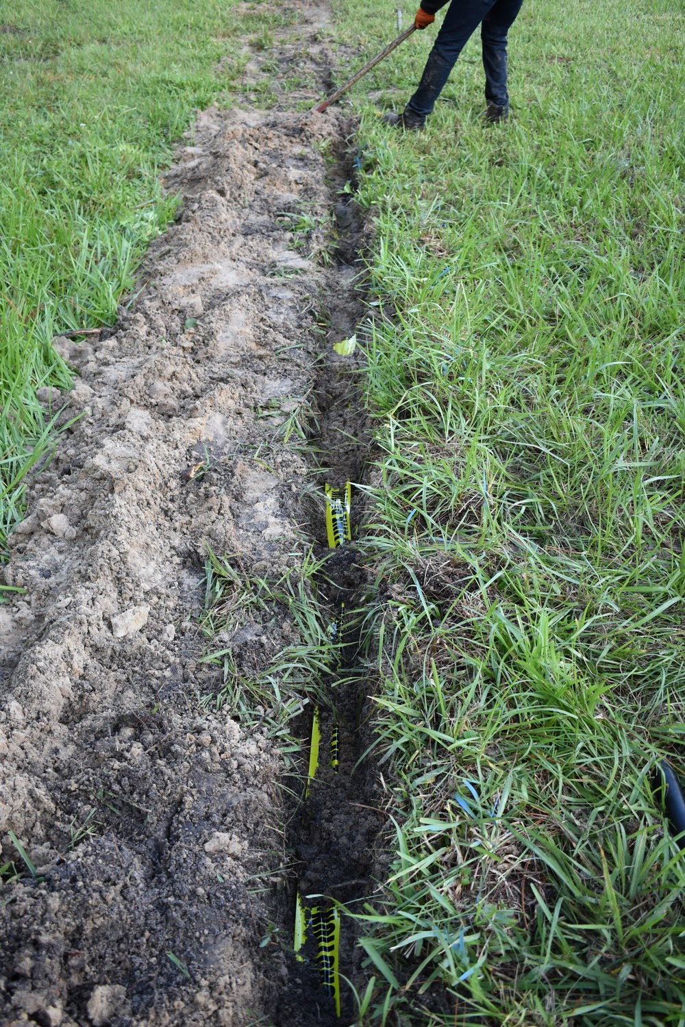 Backfilling with Caution Taper & Tracer Wire