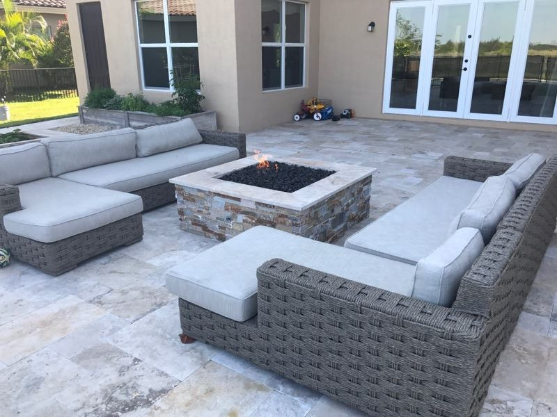 Custom Square Gas Firepit w/ Ledger Stone