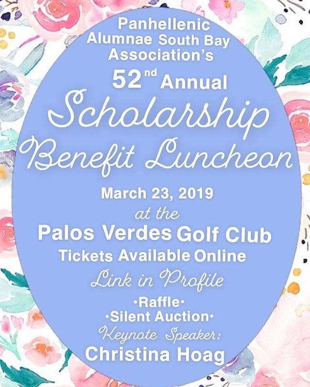We would love to have you join us at our Annual Scholarship Luncheon. We're so excited to have Christina Hoag as our Keynote Speaker as we raise money for our scholarship awards. There will be a fabulous silent auction and we will be raffling off a stay in Lake Arrowhead , a gift card tree worth over $350 and a Hollywood Bowl Experience. You don't want to miss out. Tickets at link in profile. You can buy raffle tickets even if you are not able to join us. #panhellenic #scholarship #alumnae #southbay #panhellenicalumnae #sisterhoodacrossbadges