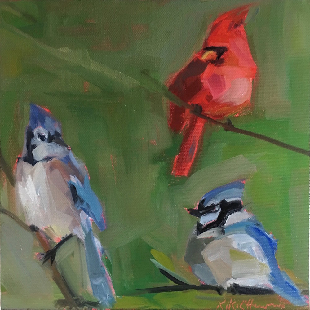 A Cardinal and Her Two Jays