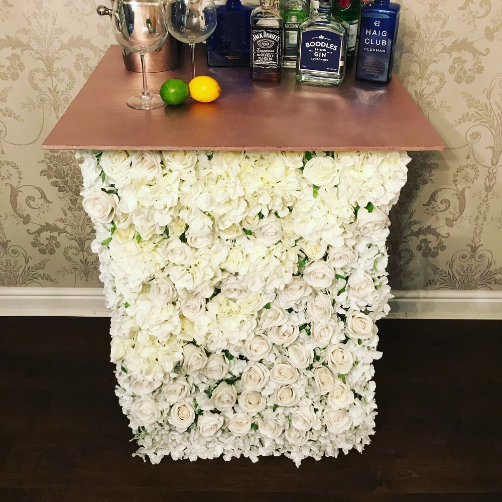 A beautiful statement piece for your party or event.  Ask us about personalisation elements that can make the bar you hire a stunning centrepiece to your special day.  Also available to buy.  Handmade at Festival HQ. Featured piece £75.