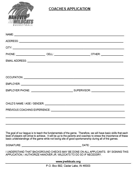 Coaches Registration Form  Hanover Junior Wildcats