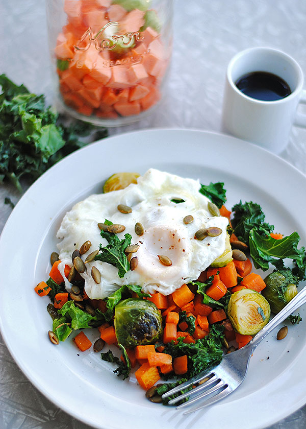 Sweet Potato Hash with Brussels Sprouts and Kale | shemadeitshemight.com