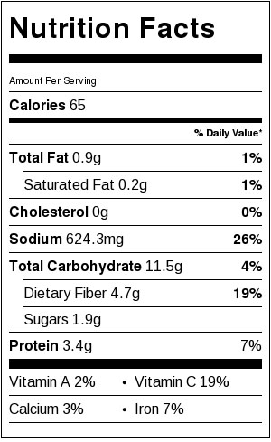 Nutritional information for Black Bean Sauce