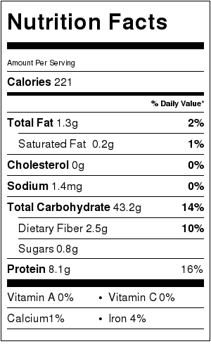 Nutritional Information for 1 cup cooked spaghetti noodles