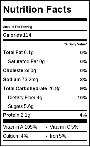 Nutritional Information for 1 cup cooked sweet potatoes