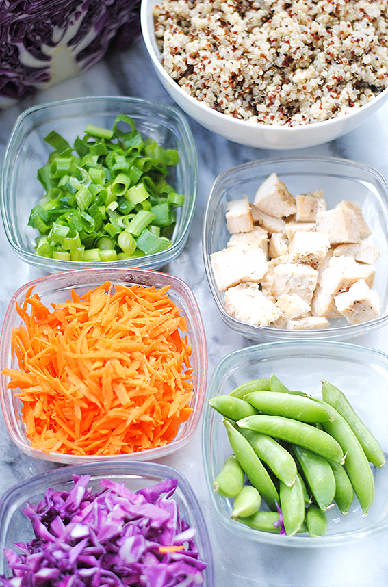 Asian Chicken and Quinoa Salad prepped