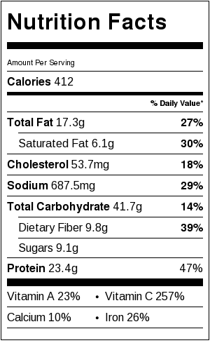 stuffed peppers nutritional information