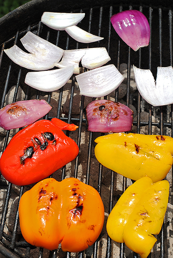 roasting peppers and onions