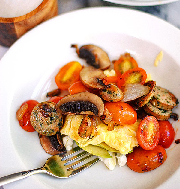 Roasted veggie hash and eggs