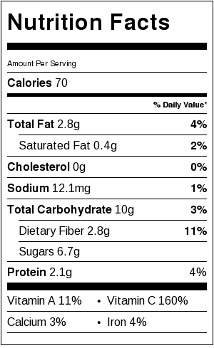 nutritional information for grilled veggie slaw