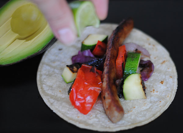 grilled sausage and veggie tacos