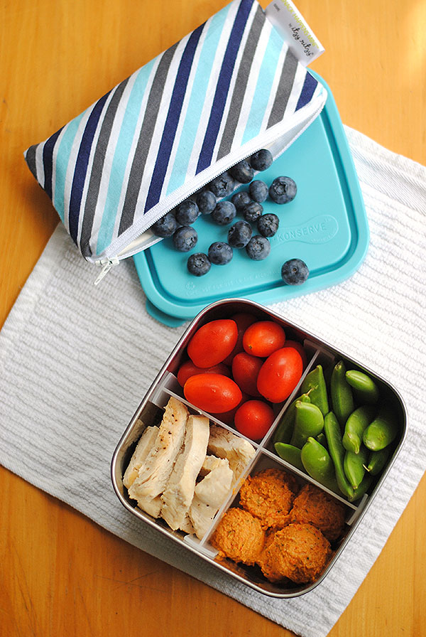 bento box of hummus, chicken, veggies and blueberries in a bag!